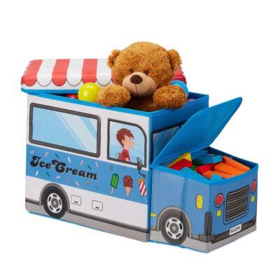 Jégkrémes Autó Szövet Gyerek Puff, Tárolóval