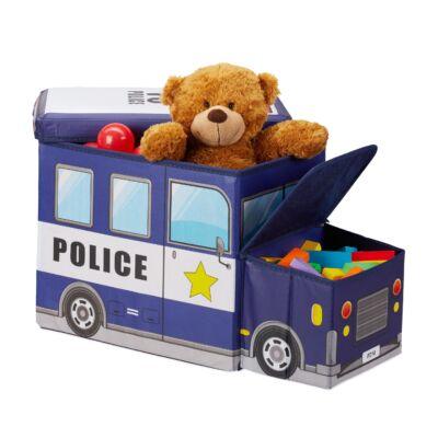 Rendőrautós Szövet Gyerek Puff, Tárolóval