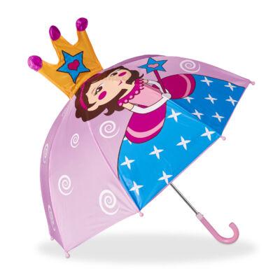 Hercegnő mintás kék és lila gyerek esernyő kiálló koronával a csúcsán
