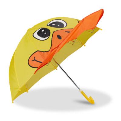 Kacsafej mintás gyerek esernyő sárga-narancs színben
