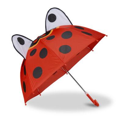 Katicabogár mintás piros alapszínű fekete pöttyös gyerek esernyő