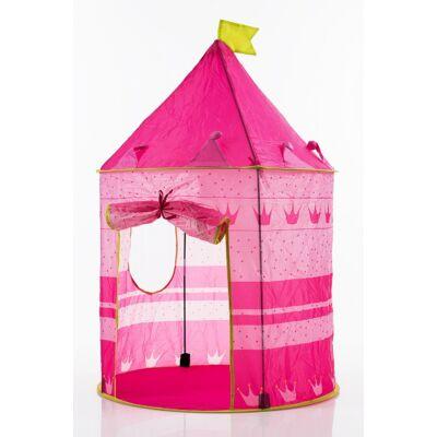 Rózsaszín kislányos gyermek játszósátor hercegnős mintával