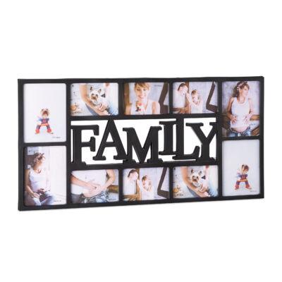 Family feliratos képkeret 10 fotónak fekete színben