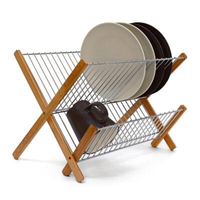 Bambusz lábakkal és acél szárítófelülettel felszerelt konyhai csepegtető