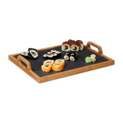 Kyo négyszögletű bambusz reggeliző tálca kivehető palatáblával