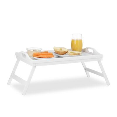 Minato fehér színű bambusz ágytálca és reggeliző tálca friss gyümölcsökkel és gyümölcslével