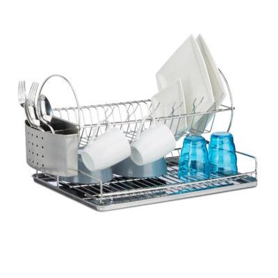 Sander rozsdamentes acél edényszárító lapos kivitel kék pohárral és tányérokkal