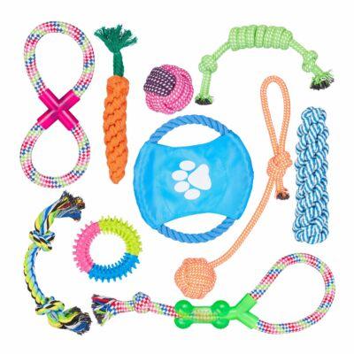 10 darabos kutyajáték szettben frizbivel és különböző kötelekkel és gumijátékokkal