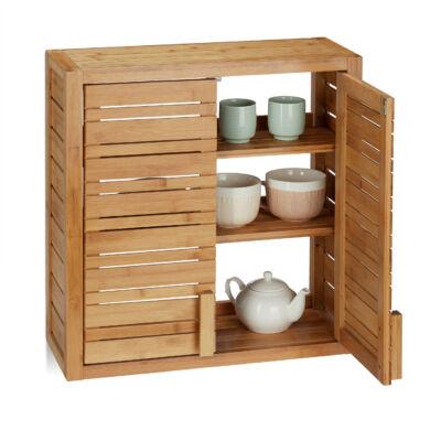 Isamu bambusz fali fürdőszoba szekrény kinyitott ajtókkal tálkákkal a belsejében
