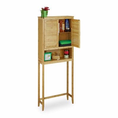 Bambusz lábakon álló magas fürdőszobai szekrény mosógép felé