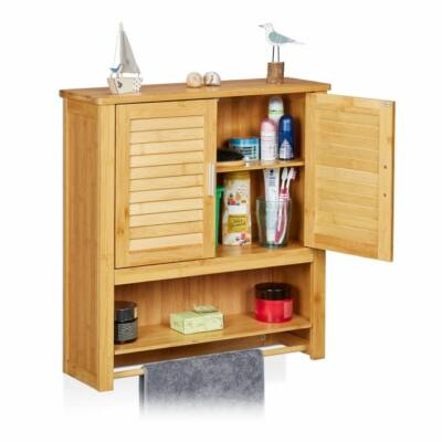 Lamell natúr színű fali fürdőszobai szekrény törölközőszárító rúddal