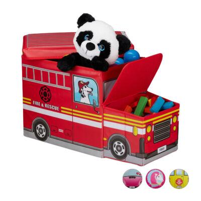 Tűzoltóautós Szövet Gyerek Puff, Tárolóval