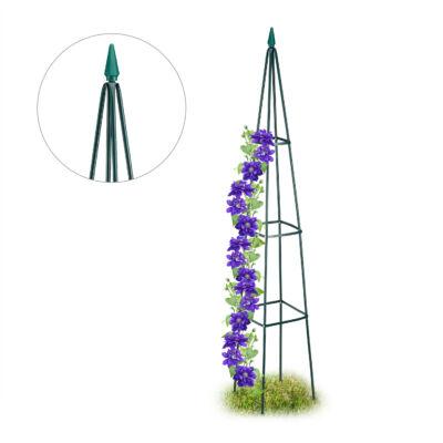 Obeliszk alakú zöld színű virágfuttató lila színű növénnyel felfuttatva