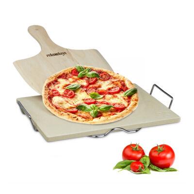 Négyzet alakú pizzakő és pizzalapát szettben tartóval együtt