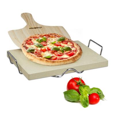 Extra vastag pizzakő és pizzalapát tartóval készletben