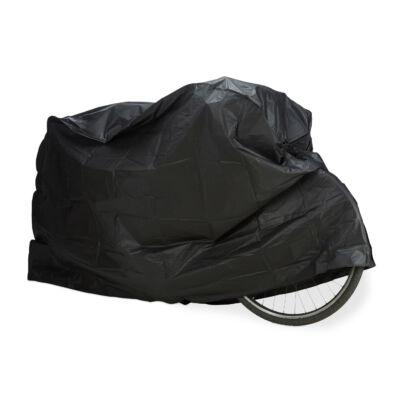 Fekete színű bicikli takaróponyva alatta egy kerékpárral