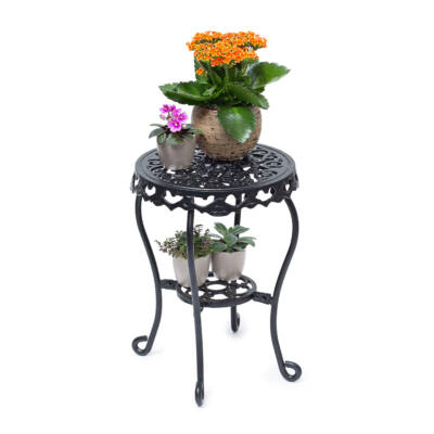 Fatma M öntöttvas virágtartó állvány fekete színben