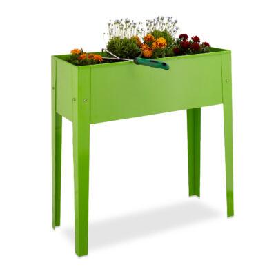Fémből készült zöld színű virágtartó amely ültetőládaként is használható
