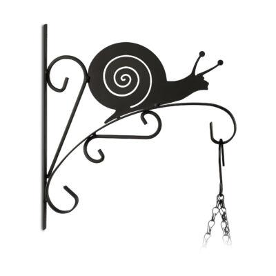 Csiga alakú fekete színű acél fali virágtartó és akasztó fehér háttéren