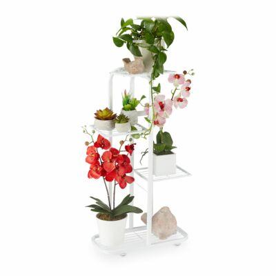 Grinald fém virágtartó állvány fehér színben cserepes növényekkel felpakolva