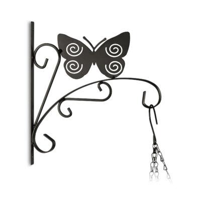 Pillangó fémből készült fali virágtartó és akasztó